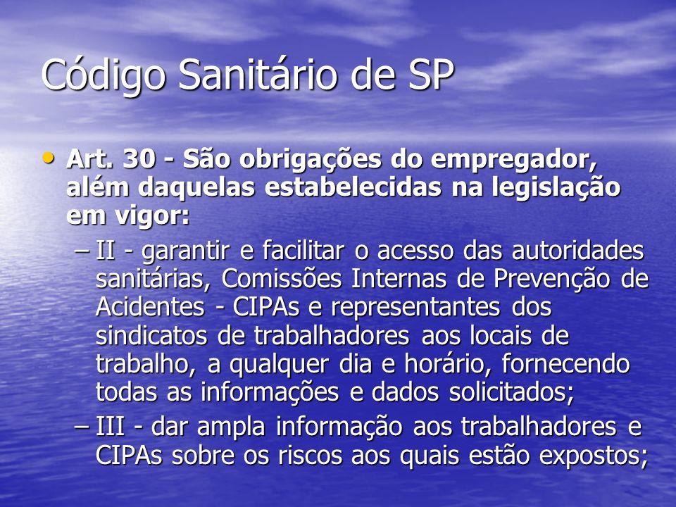 Código Sanitário de SP Art. 30 - São obrigações do empregador, além daquelas estabelecidas na legislação em vigor: Art. 30 - São obrigações do emprega