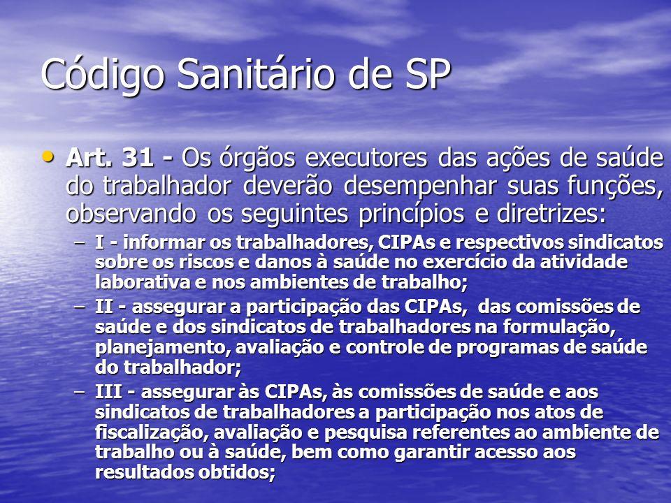 Código Sanitário de SP Art. 31 - Os órgãos executores das ações de saúde do trabalhador deverão desempenhar suas funções, observando os seguintes prin