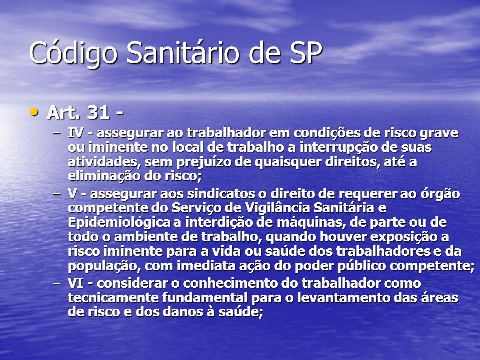 Código Sanitário de SP Art. 31 - Art. 31 - –IV - assegurar ao trabalhador em condições de risco grave ou iminente no local de trabalho a interrupção d