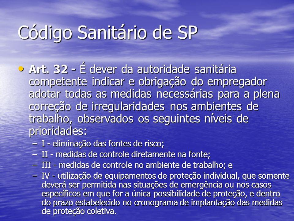 Código Sanitário de SP Art. 32 - É dever da autoridade sanitária competente indicar e obrigação do empregador adotar todas as medidas necessárias para
