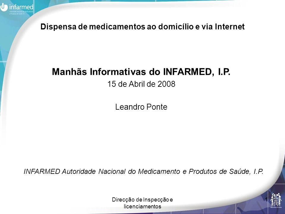 Direcção de Inspecção e licenciamentos 1 Dispensa de medicamentos ao domicílio e via Internet Manhãs Informativas do INFARMED, I.P. 15 de Abril de 200