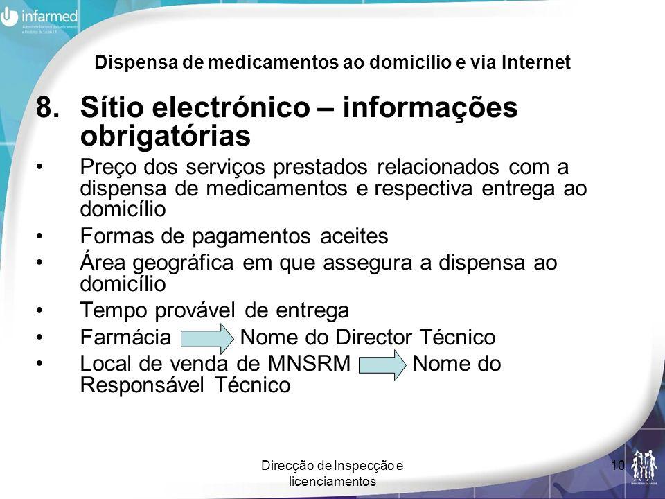 Direcção de Inspecção e licenciamentos 10 Dispensa de medicamentos ao domicílio e via Internet 8.Sítio electrónico – informações obrigatórias Preço do