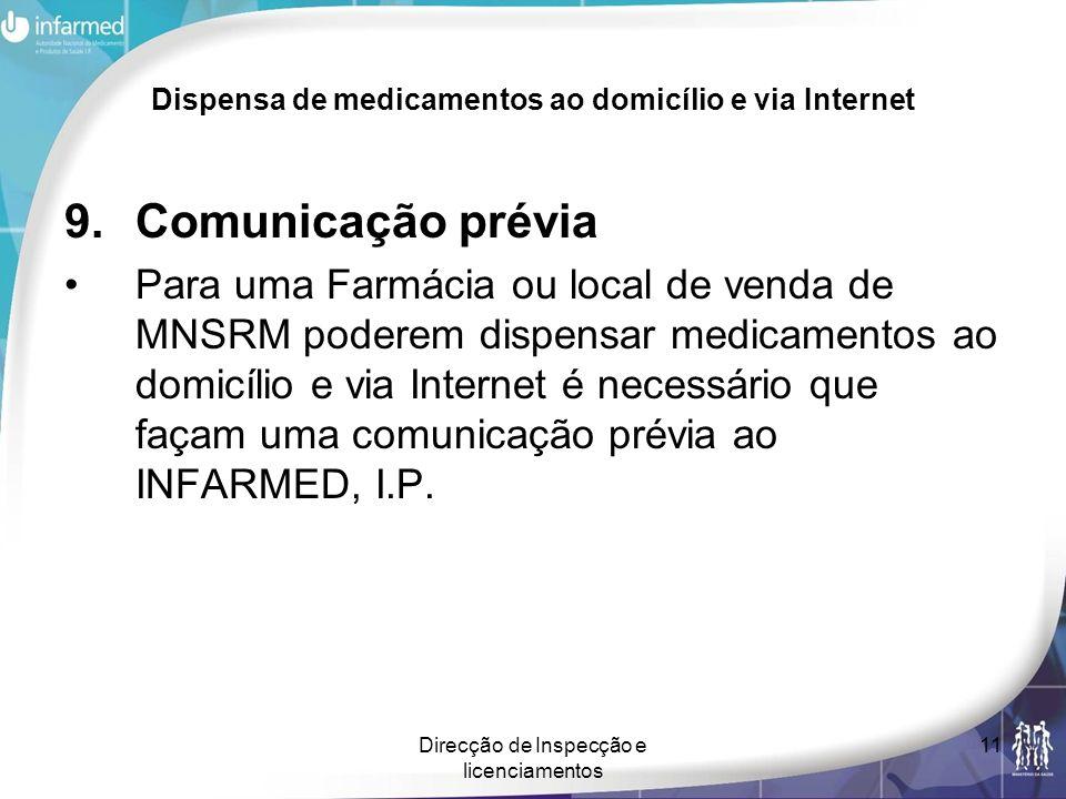 Direcção de Inspecção e licenciamentos 11 Dispensa de medicamentos ao domicílio e via Internet 9.Comunicação prévia Para uma Farmácia ou local de vend
