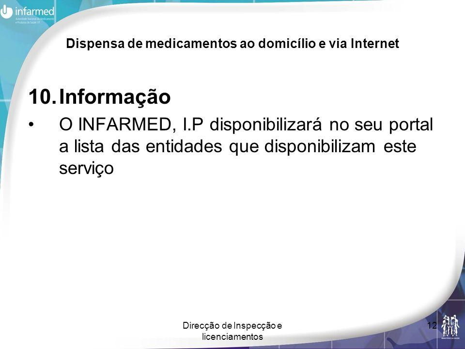Direcção de Inspecção e licenciamentos 12 Dispensa de medicamentos ao domicílio e via Internet 10.Informação O INFARMED, I.P disponibilizará no seu po