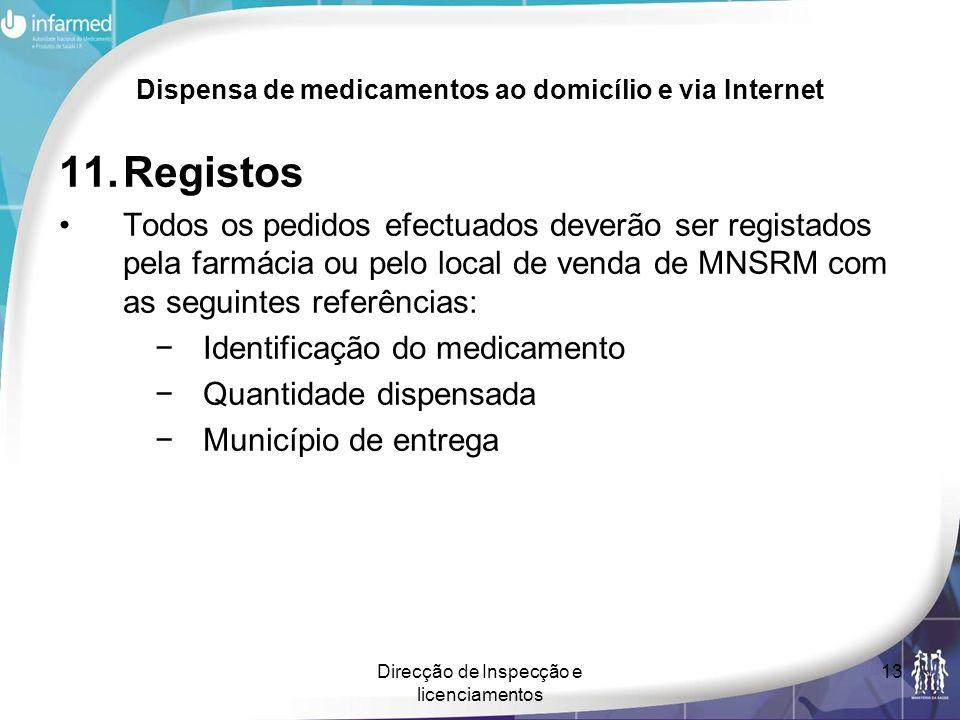 Direcção de Inspecção e licenciamentos 13 Dispensa de medicamentos ao domicílio e via Internet 11.Registos Todos os pedidos efectuados deverão ser reg