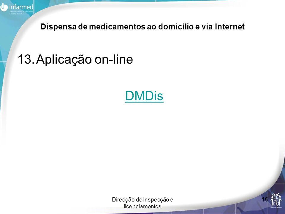 Direcção de Inspecção e licenciamentos 15 Dispensa de medicamentos ao domicílio e via Internet 13.Aplicação on-line DMDis