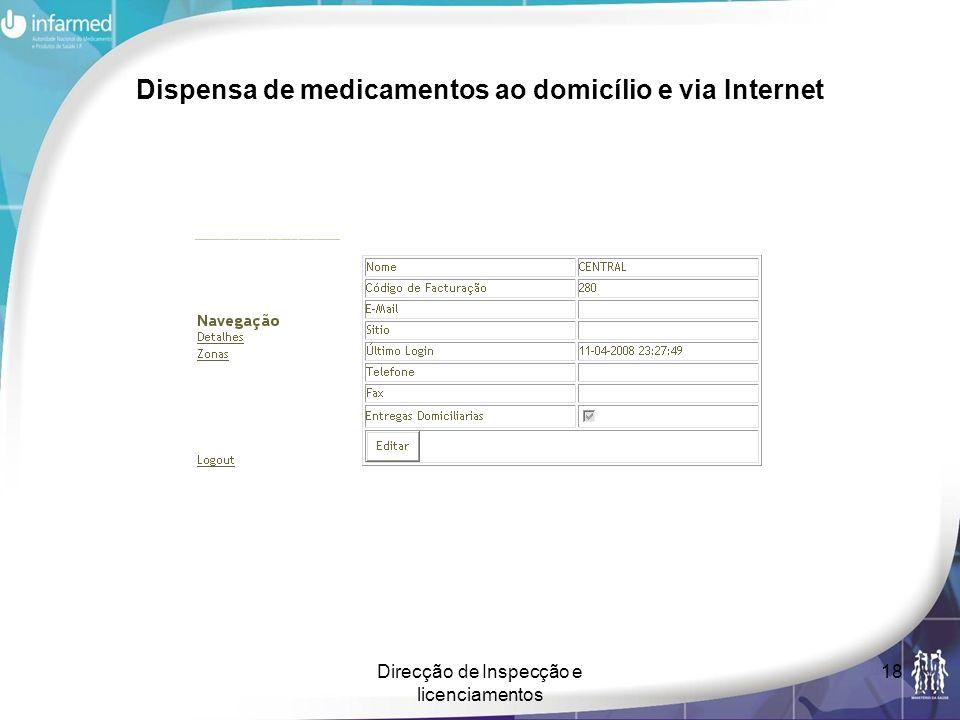 Direcção de Inspecção e licenciamentos 18 Dispensa de medicamentos ao domicílio e via Internet