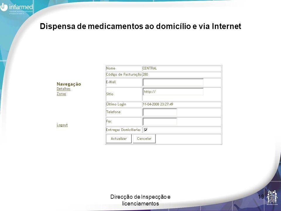 Direcção de Inspecção e licenciamentos 19 Dispensa de medicamentos ao domicílio e via Internet