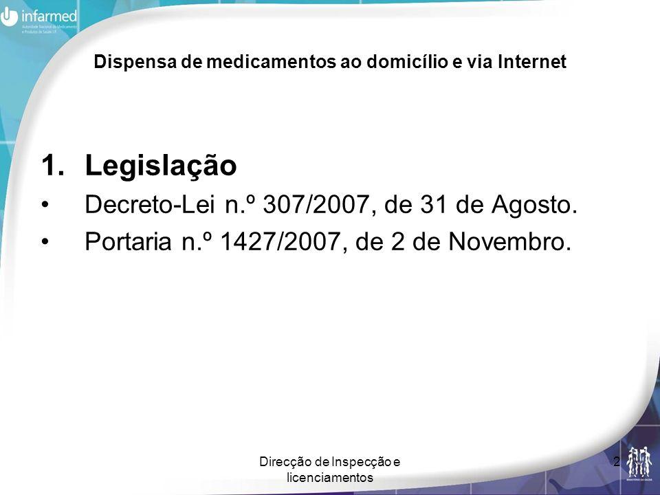 Direcção de Inspecção e licenciamentos 2 Dispensa de medicamentos ao domicílio e via Internet 1.Legislação Decreto-Lei n.º 307/2007, de 31 de Agosto.
