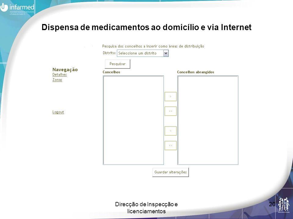 Direcção de Inspecção e licenciamentos 20 Dispensa de medicamentos ao domicílio e via Internet