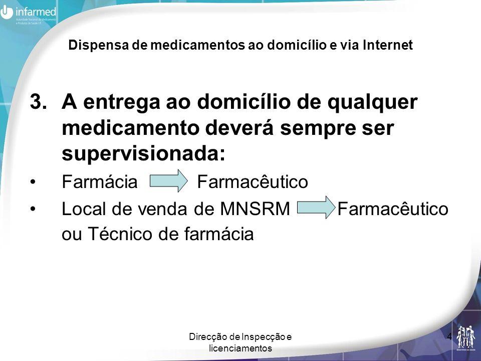 Direcção de Inspecção e licenciamentos 4 Dispensa de medicamentos ao domicílio e via Internet 3.A entrega ao domicílio de qualquer medicamento deverá