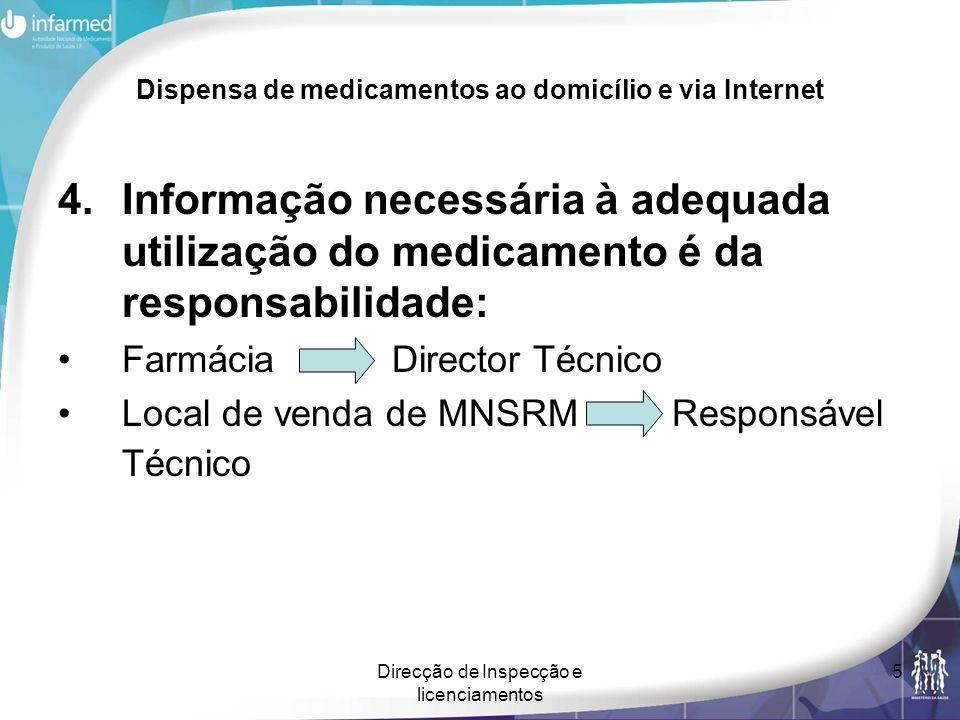 Direcção de Inspecção e licenciamentos 5 Dispensa de medicamentos ao domicílio e via Internet 4.Informação necessária à adequada utilização do medicam