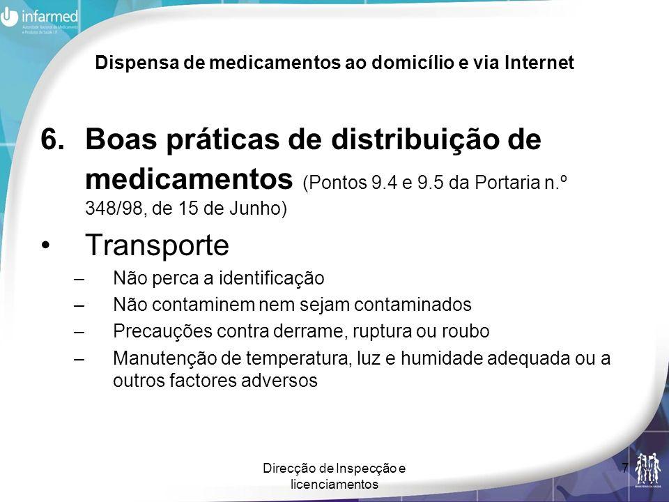Direcção de Inspecção e licenciamentos 7 Dispensa de medicamentos ao domicílio e via Internet 6.Boas práticas de distribuição de medicamentos (Pontos