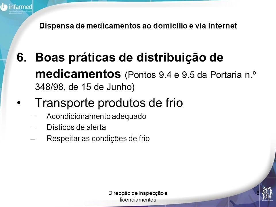 Direcção de Inspecção e licenciamentos 8 Dispensa de medicamentos ao domicílio e via Internet 6.Boas práticas de distribuição de medicamentos (Pontos