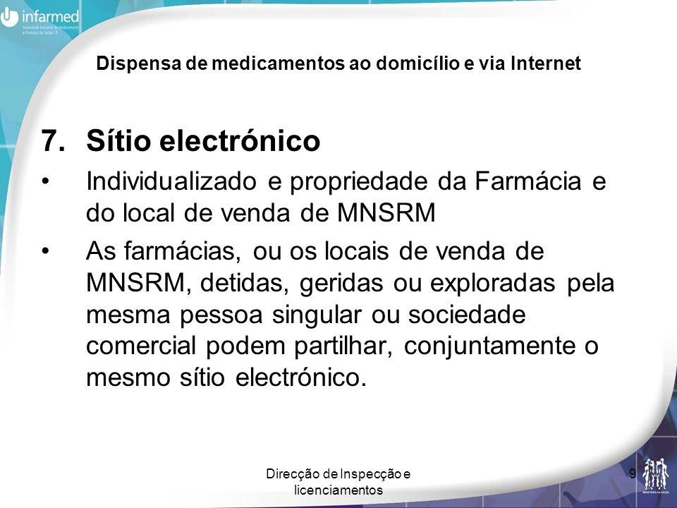 Direcção de Inspecção e licenciamentos 9 Dispensa de medicamentos ao domicílio e via Internet 7.Sítio electrónico Individualizado e propriedade da Far