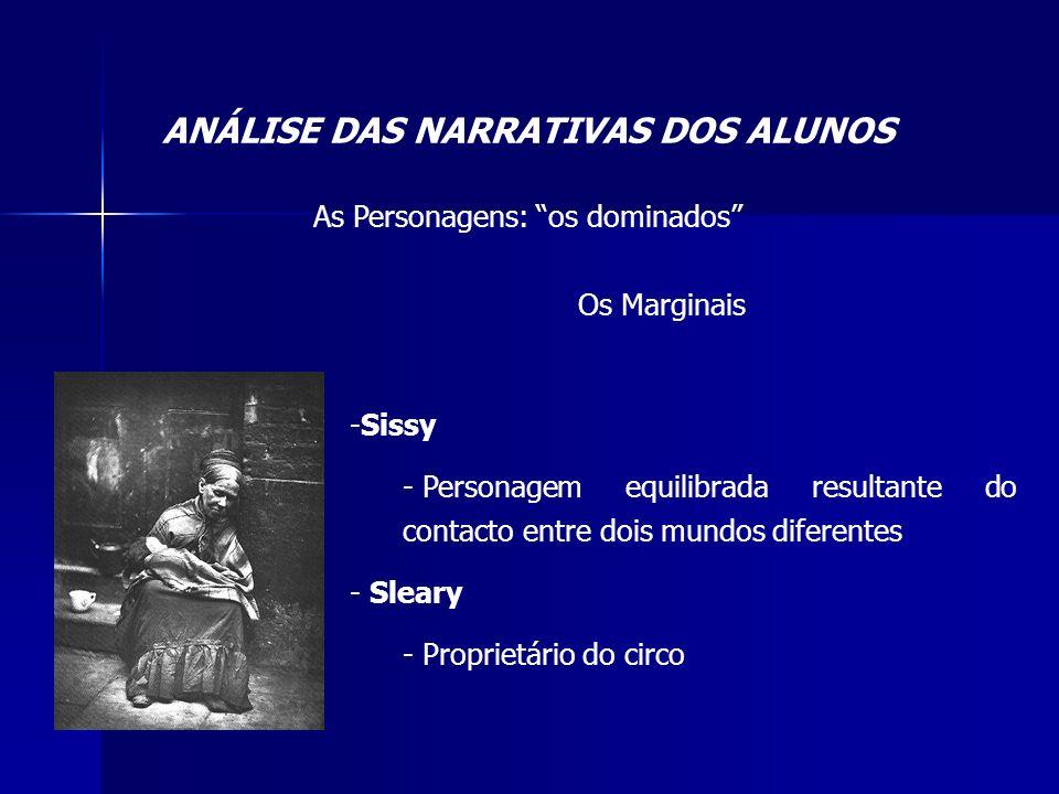 ANÁLISE DAS NARRATIVAS DOS ALUNOS As Personagens: os dominados Os Marginais -Sissy - Personagem equilibrada resultante do contacto entre dois mundos d