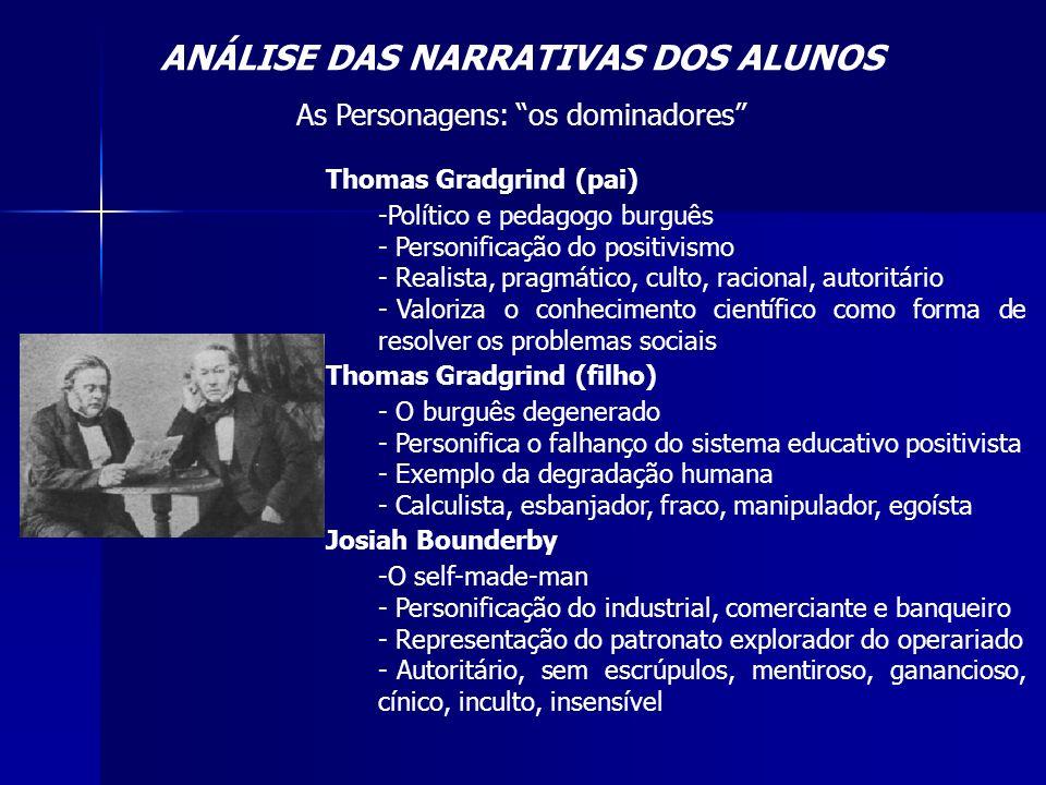 ANÁLISE DAS NARRATIVAS DOS ALUNOS As Personagens: os dominadores Thomas Gradgrind (pai) -Político e pedagogo burguês - Personificação do positivismo -