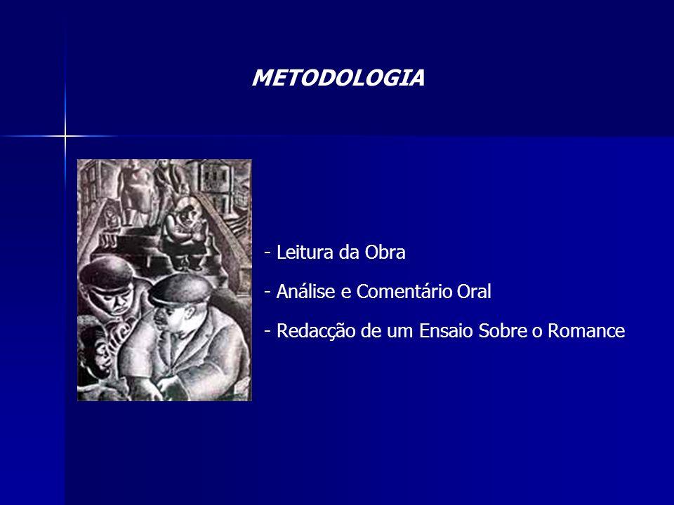 METODOLOGIA - Leitura da Obra - Análise e Comentário Oral - Redacção de um Ensaio Sobre o Romance