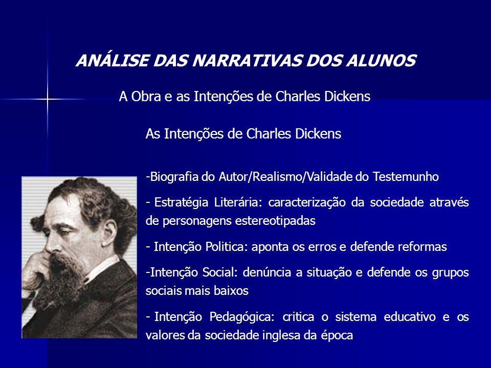 ANÁLISE DAS NARRATIVAS DOS ALUNOS A Obra e as Intenções de Charles Dickens As Intenções de Charles Dickens -Biografia do Autor/Realismo/Validade do Te