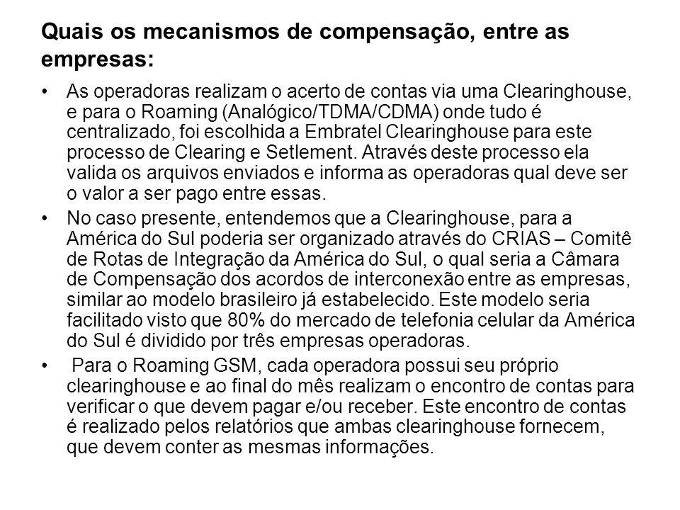 Quais os mecanismos de compensação, entre as empresas: As operadoras realizam o acerto de contas via uma Clearinghouse, e para o Roaming (Analógico/TD