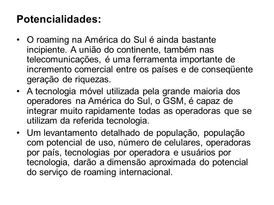 Potencialidades: O roaming na América do Sul é ainda bastante incipiente. A união do continente, também nas telecomunicações, é uma ferramenta importa