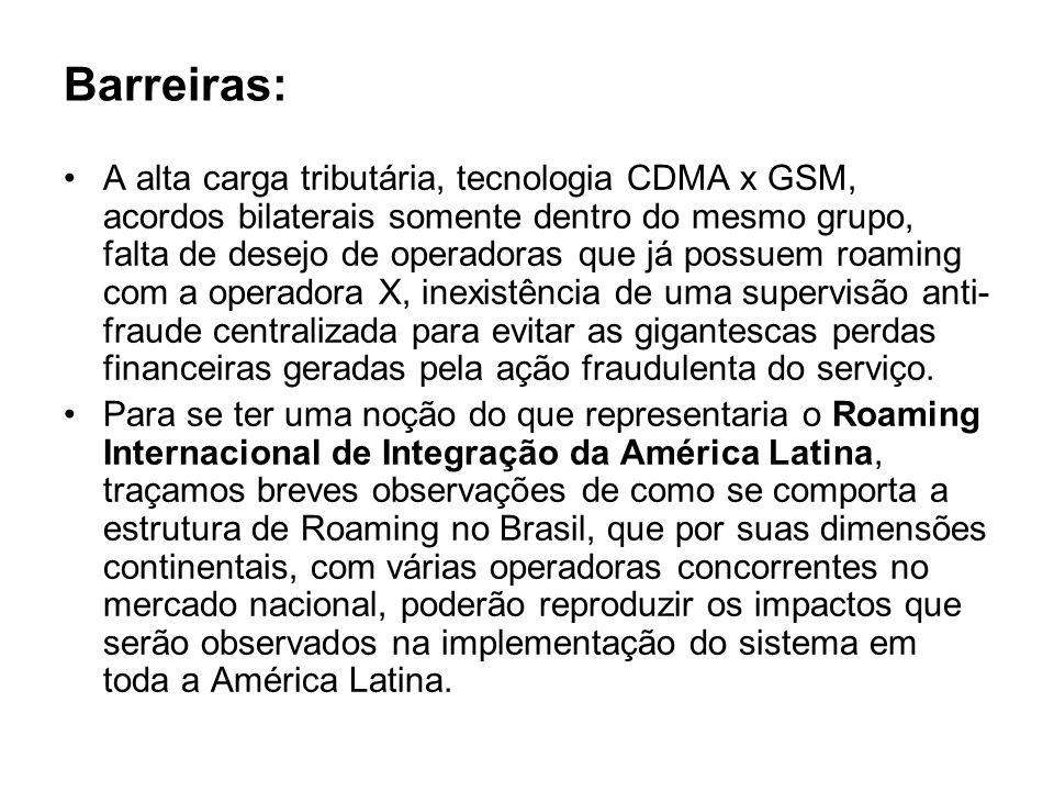 Barreiras: A alta carga tributária, tecnologia CDMA x GSM, acordos bilaterais somente dentro do mesmo grupo, falta de desejo de operadoras que já poss