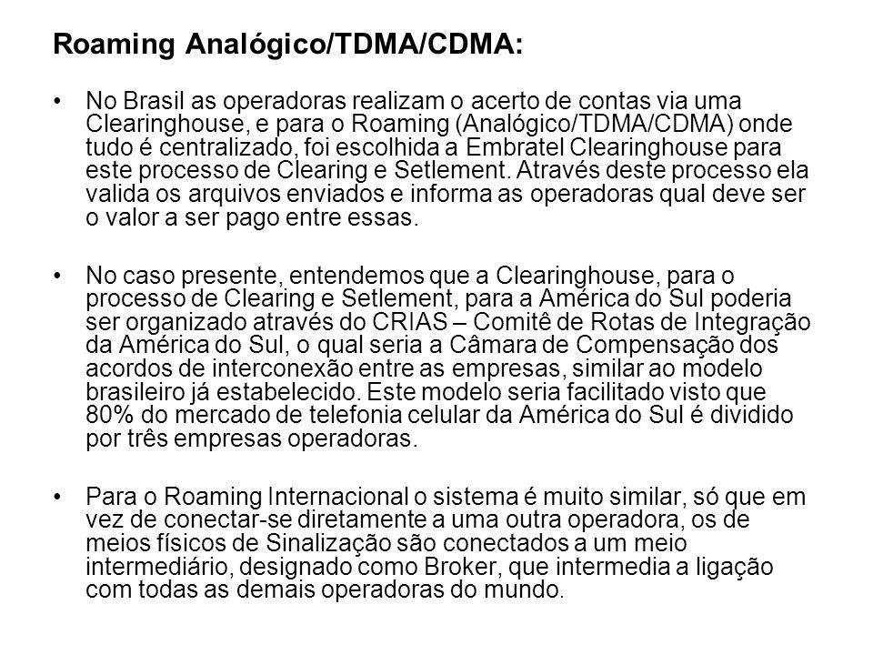 Roaming Analógico/TDMA/CDMA: No Brasil as operadoras realizam o acerto de contas via uma Clearinghouse, e para o Roaming (Analógico/TDMA/CDMA) onde tu