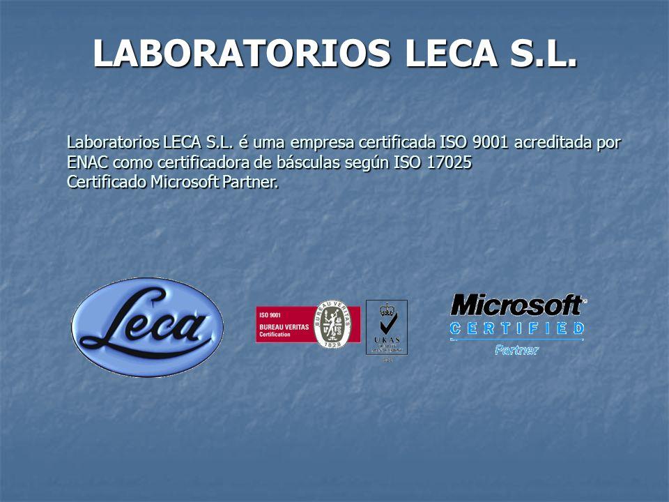 LABORATORIOS LECA S.L. Laboratorios LECA S.L. é uma empresa certificada ISO 9001 acreditada por ENAC como certificadora de básculas según ISO 17025 Ce