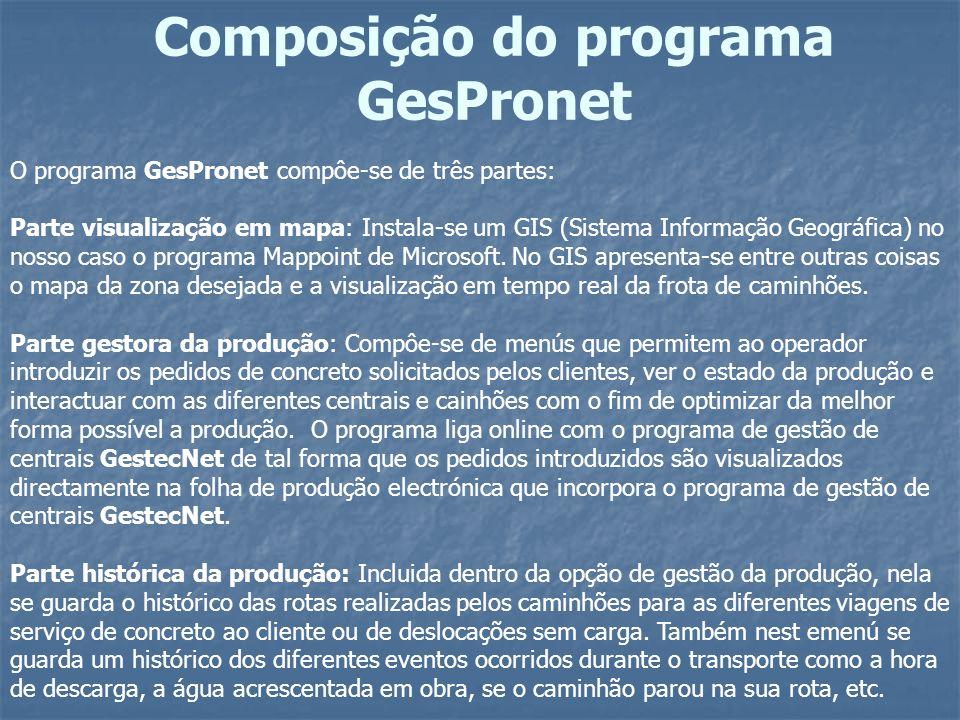 O programa GesPronet compôe-se de três partes: Parte visualização em mapa: Instala-se um GIS (Sistema Informação Geográfica) no nosso caso o programa