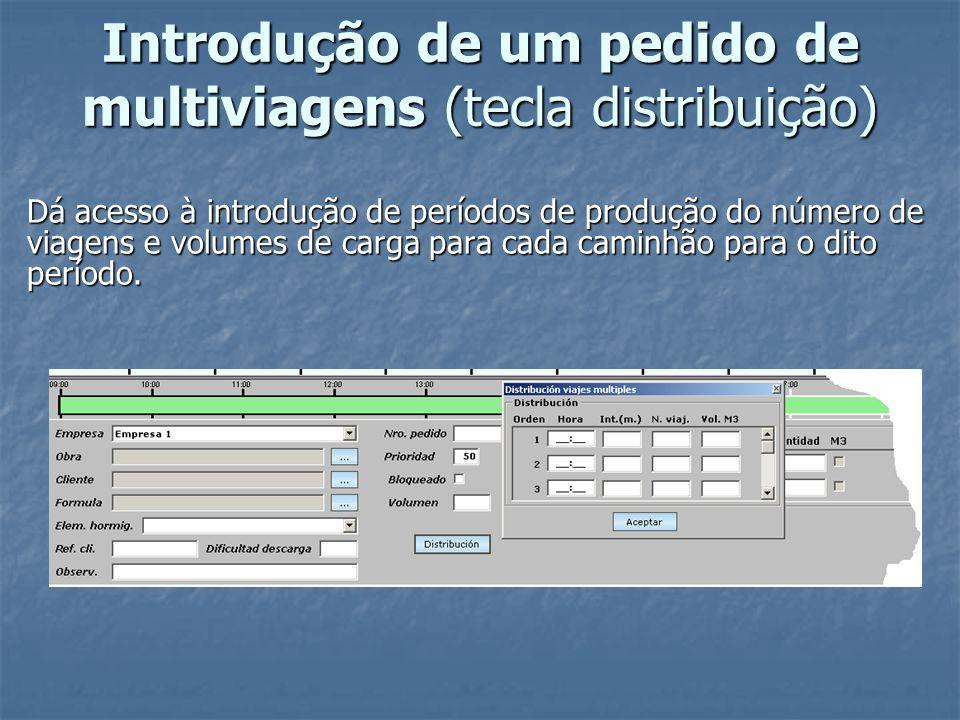 Introdução de um pedido de multiviagens (tecla distribuição) Dá acesso à introdução de períodos de produção do número de viagens e volumes de carga pa