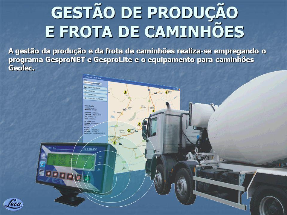 GESTÃO DE PRODUÇÃO E FROTA DE CAMINHÕES A gestão da produção e da frota de caminhões realiza-se empregando o programa GesproNET e GesproLite e o equip