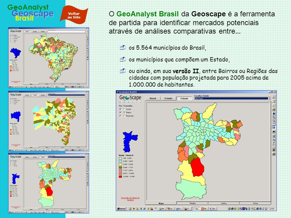 Geoscape Brasil GeoAnalyst O GeoAnalyst Brasil da Geoscape é a ferramenta de partida para identificar mercados potenciais através de análises comparat