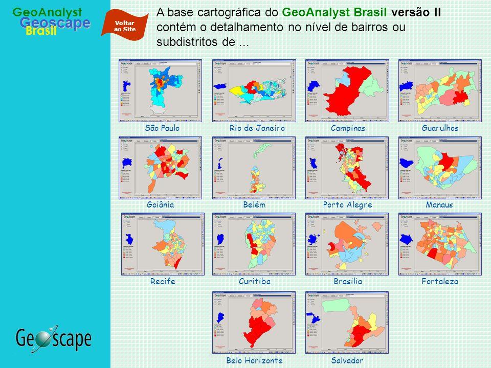 Geoscape Brasil GeoAnalyst A base cartográfica do GeoAnalyst Brasil versão II contém o detalhamento no nível de bairros ou subdistritos de... Campinas