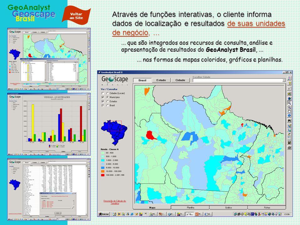Geoscape Brasil GeoAnalyst A Base de Dados docontém informações do Censo 2000 do IBGE e projeções de população para 2005, além das informações que podem ser permanentemente alimentadas pelo próprio cliente a partir de rotinas e cadastros já em uso na sua empresa...