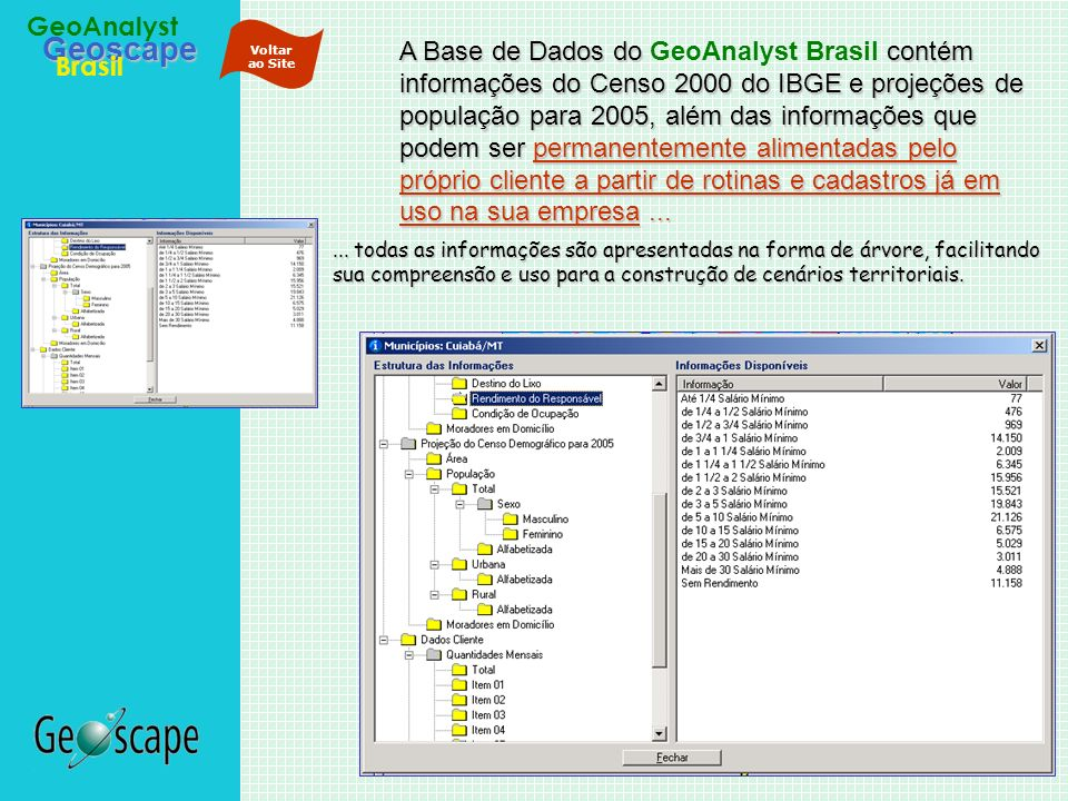 Geoscape Brasil GeoAnalyst A Base de Dados docontém informações do Censo 2000 do IBGE e projeções de população para 2005, além das informações que pod