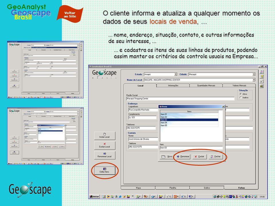 Geoscape Brasil GeoAnalyst O cliente informa e atualiza a qualquer momento os dados de seus locais de venda,...... nome, endereço, situação, contato,