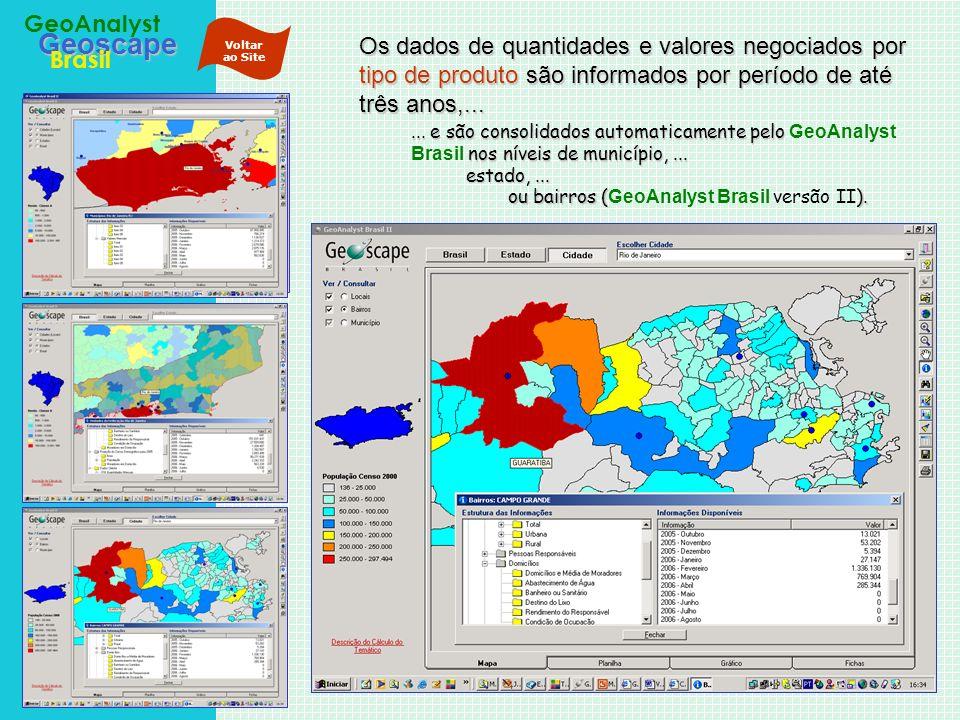 Geoscape Brasil GeoAnalyst Os dados de quantidades e valores negociados por tipo de produto são informados por período de até três anos,...... e são c