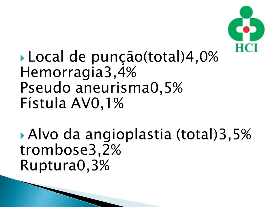 Local de punção(total)4,0% Hemorragia3,4% Pseudo aneurisma0,5% Fístula AV0,1% Alvo da angioplastia (total)3,5% trombose3,2% Ruptura0,3%
