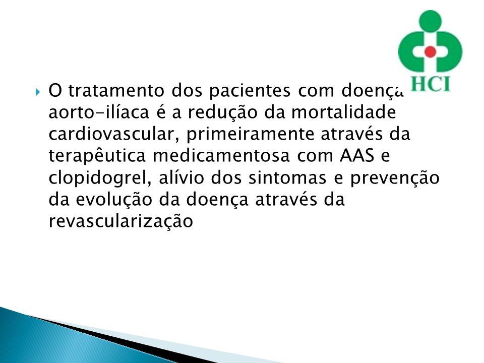 O tratamento dos pacientes com doença aorto-ilíaca é a redução da mortalidade cardiovascular, primeiramente através da terapêutica medicamentosa com A