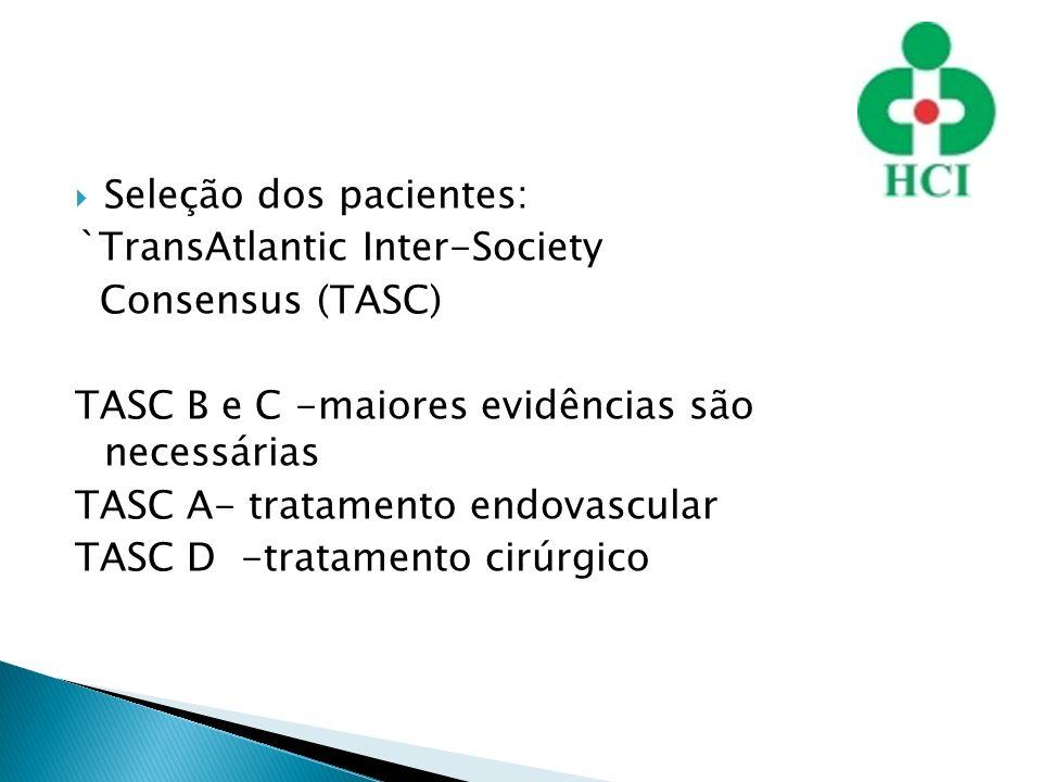 Seleção dos pacientes: `TransAtlantic Inter-Society Consensus (TASC) TASC B e C -maiores evidências são necessárias TASC A- tratamento endovascular TA