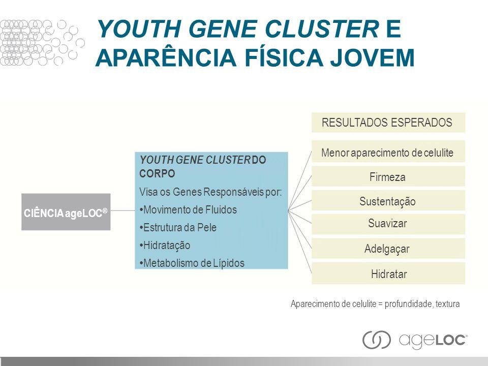 YOUTH GENE CLUSTER E APARÊNCIA FÍSICA JOVEM CIÊNCIA ageLOC ® YOUTH GENE CLUSTER DO CORPO Visa os Genes Responsáveis por: Movimento de Fluidos Estrutur