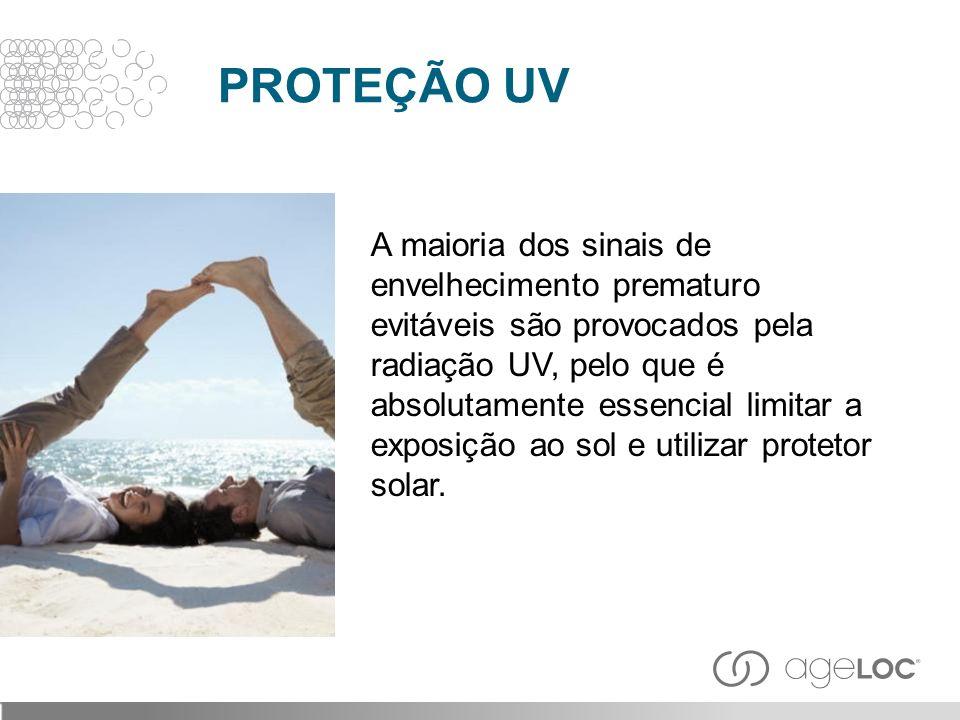A maioria dos sinais de envelhecimento prematuro evitáveis são provocados pela radiação UV, pelo que é absolutamente essencial limitar a exposição ao