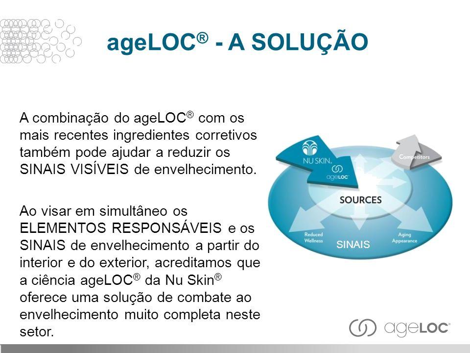 A combinação do ageLOC ® com os mais recentes ingredientes corretivos também pode ajudar a reduzir os SINAIS VISÍVEIS de envelhecimento. Ao visar em s