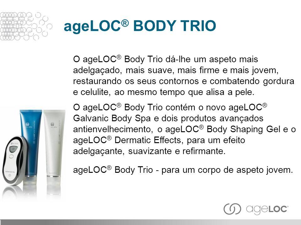 O ageLOC ® Body Trio dá-lhe um aspeto mais adelgaçado, mais suave, mais firme e mais jovem, restaurando os seus contornos e combatendo gordura e celul