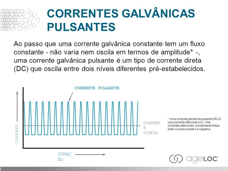 Ao passo que uma corrente galvânica constante tem um fluxo constante - não varia nem oscila em termos de amplitude* -, uma corrente galvânica pulsante