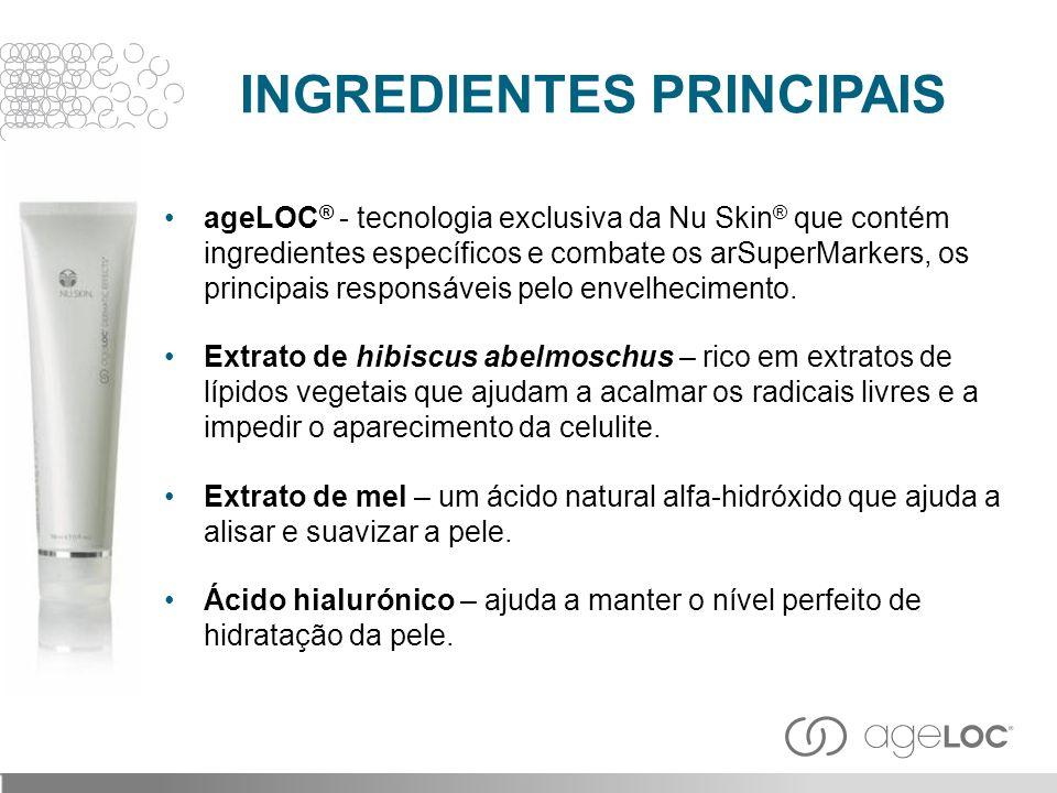 ageLOC ® - tecnologia exclusiva da Nu Skin ® que contém ingredientes específicos e combate os arSuperMarkers, os principais responsáveis pelo envelhec