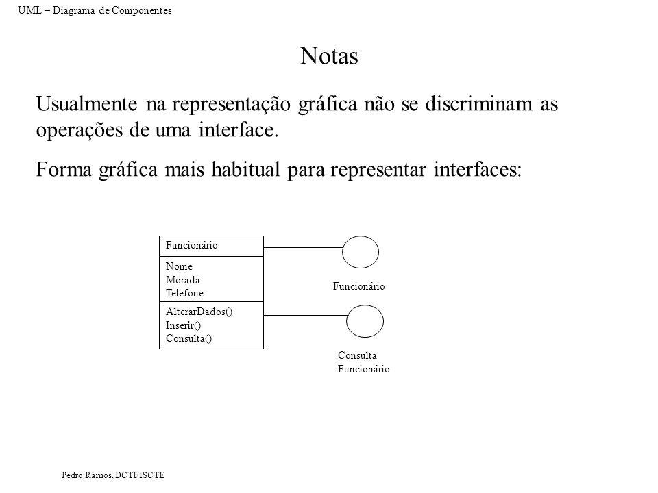 Pedro Ramos, DCTI/ISCTE Notas UML – Diagrama de Componentes Usualmente na representação gráfica não se discriminam as operações de uma interface.