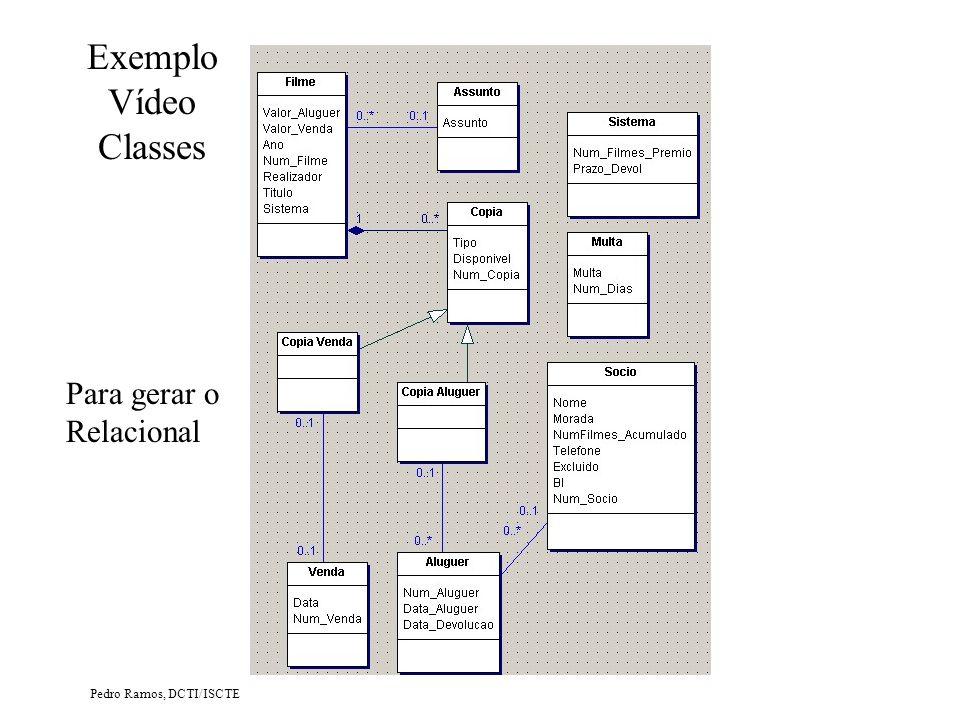 Pedro Ramos, DCTI/ISCTE Exemplo Vídeo Classes Para gerar o Relacional