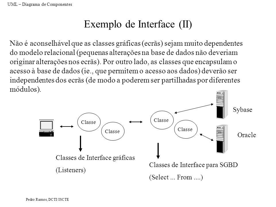 Pedro Ramos, DCTI/ISCTE Exemplo de Interface (II) Não é aconselhável que as classes gráficas (ecrãs) sejam muito dependentes do modelo relacional (pequenas alterações na base de dados não deveriam originar alterações nos ecrãs).