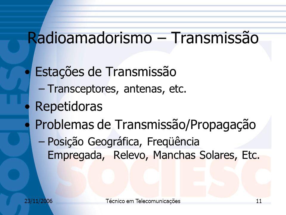23/11/2006Técnico em Telecomunicações11 Radioamadorismo – Transmissão Estações de Transmissão –Transceptores, antenas, etc.
